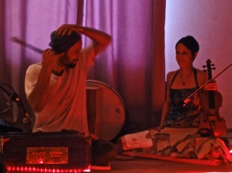 Petros and I at one of our last kirtans together before I moved back to the States. Photo by Annette Stalz