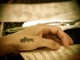 """Out to lunch with the teacher trainees, sporting my """"permanent"""" reminder of impermanence, or """"anitya"""" in Sanskrit. Photo by Barbara Süß"""