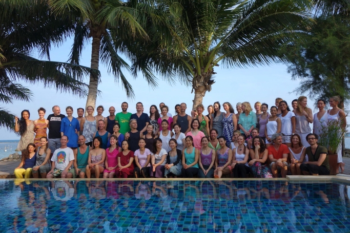 Group photo by the pool at Samahita in Koh Samui, Thailand with Richard in 2013.