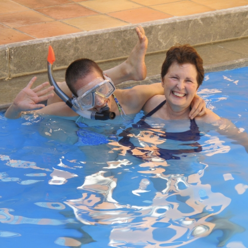 Fun in the pool with Ma in Crete 2009. Photo by Pa