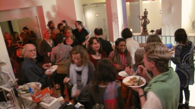 New year's buffet with the sound of fireworks from the street and about 80 cheery participants...