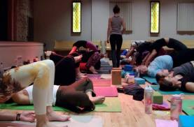 Assisting Sharon Gannon's workshop in Boulder in 2014. Photo by Jaimie Epstein