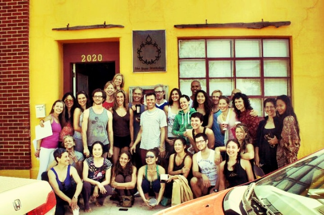 Our Teachers' Intensive group with Richard and Mary in front of Yoga Workshop in 2011.