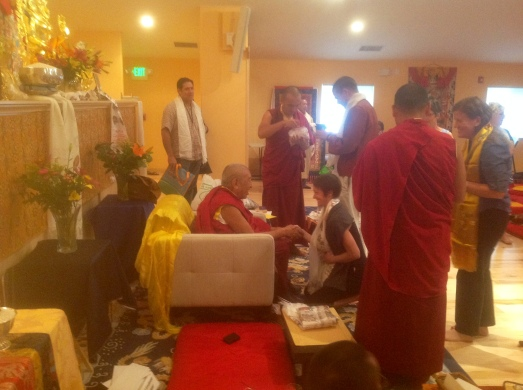 I had the privilege to meet Thrangu Rinpoche after his weekend intensive in Denver in 2014. Photo by Susan Chiocchi