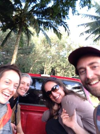 Truck ride with good friends during a field trip to meet Richard and Bob for a talk in a sacred grove on Molokai. Selfie by Matt Champoux